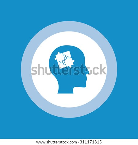 Head with puzzle icon - stock vector