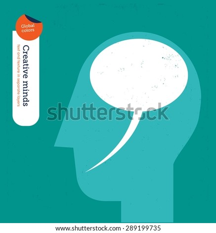 Head with speech bubble brain. Vector illustration Eps10 file. Global colors. Text and Texture in separate layers. - stock vector