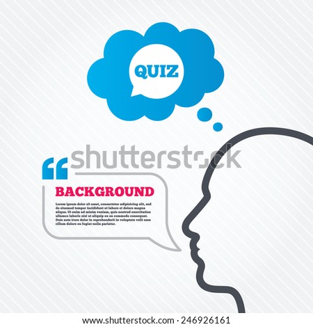 Head with speech bubble. Quiz speech bubble sign icon. Questions and answers game symbol. Think background with quotes and seamless texture. Vector - stock vector