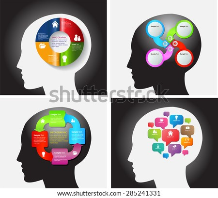 head with Speech Bubbles. brain idea concept. technology template for computer graphic website internet and business. circuit. text box set. Silhouette. Infographics. vector. think, many, various.