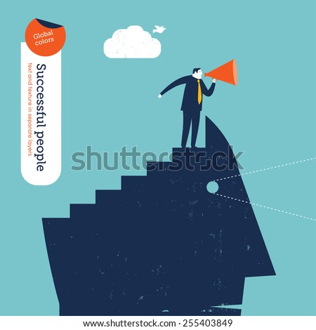 Head with stairs and coach with megaphone. Vector illustration Eps10 file. Global colors. Text and Texture in separate layers. - stock vector