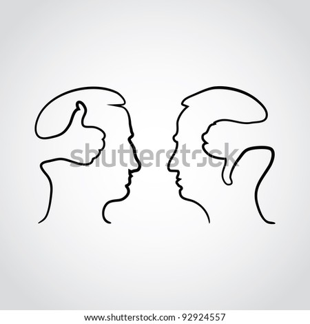 head with thumbd up and thumbs down - illustration - stock vector
