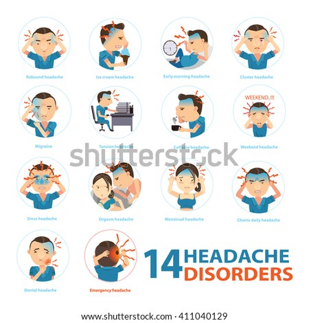 Headache disorders Info Graphics in circle.Vector illustrations - stock vector