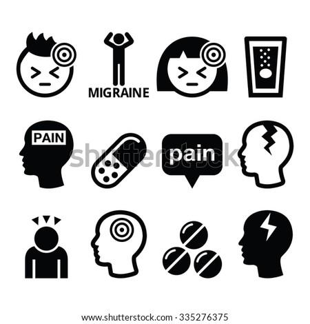 Headache, migraine - medical vector icons set   - stock vector