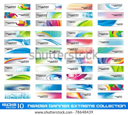 Header Banner extreme collection - ready to use for website or blog design - stock vector