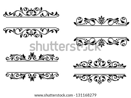 Header frame with retro floral elements for monogram or vignette design. Jpeg (bitmap) version also available in gallery - stock vector