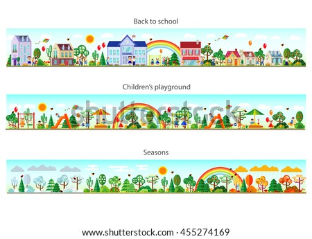 Header set in flat style. Website headers. Banner. Back to school. Children's playground. Seasons. Vector illustration. Buildings and nature elements big set. - stock vector