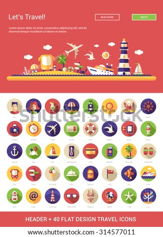 Header with vector modern flat design travel, vacation, tourism icons and infographics elements set for your website illustration