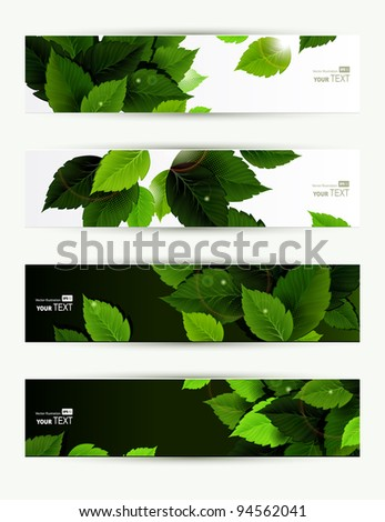 Headers set of four banners of the environment - stock vector