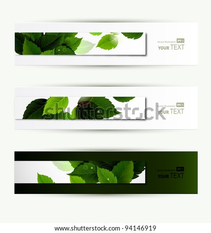 Headers set of three banners of the environment - stock vector