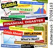 Headlines of the bad business economy and economic disaster cutouts in various fonts and colors. There are also some charts and graphs with the crash. - stock photo
