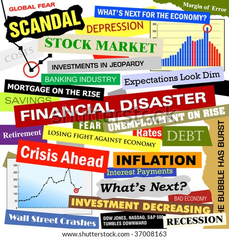 Headlines of the bad business economy and economic disaster cutouts in various fonts and colors. There are also some charts and graphs with the crash.