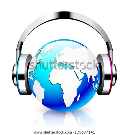 Headphone and globe on white background. Isolated 3D image  - stock vector