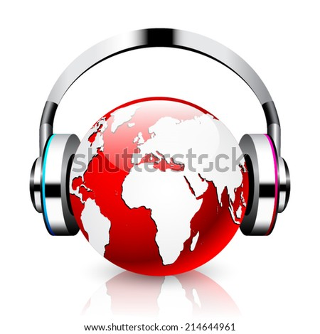 Headphone and red globe on white background. Isolated 3D image