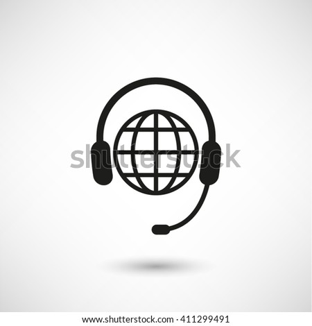 Headphone for support or service - black vector  icon with shadow