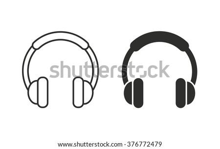 Headphone  icon  on white background. Vector illustration. - stock vector
