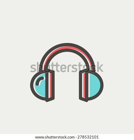 Headphone icon thin line for web and mobile, modern minimalistic flat design. Vector icon with dark grey outline and offset colour on light grey background.