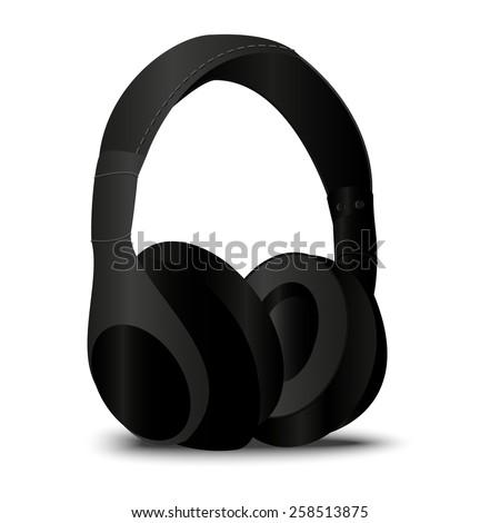 Headphone in realistic style in vector, black Headphones in eps - stock vector