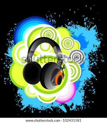 Headphone Music Background - stock vector