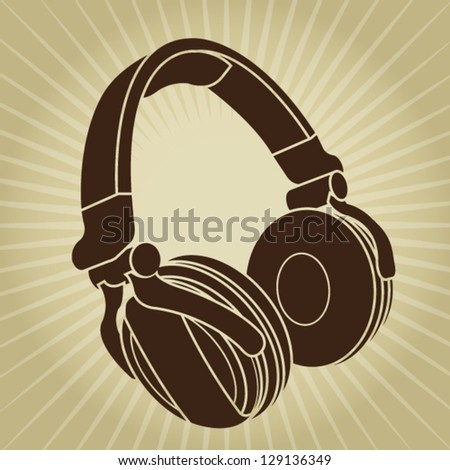 Headphone Retro Styled Illustration - stock vector