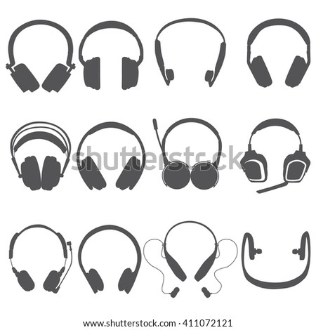 Headphone Silhouettes Set , vector illustration, eps 10. - stock vector