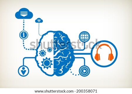 Headphones and abstract human brain, the concept of the information movement - stock vector