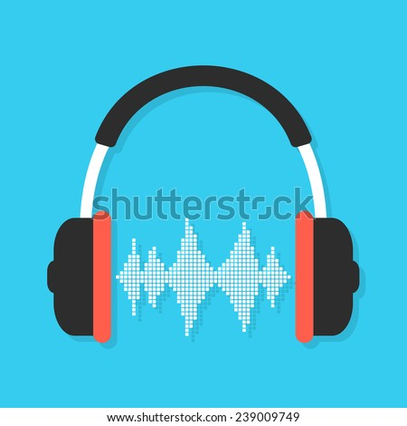 headphones and equalizer with shadow. concept of love for music, listening, audio equipment and melomania. isolated on blue background. flat style trendy modern logo design vector illustration - stock vector