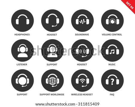 Headphones and headsets vector icons set. Music and technology items, call-centre concept, headphones, headsets, support, music, sound wave, listener. Isolated on white background - stock vector