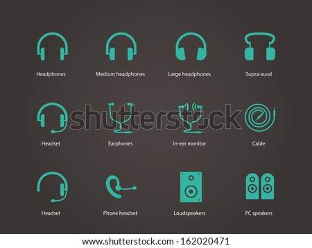 Headphones and speakers icons. Vector illustration. - stock vector