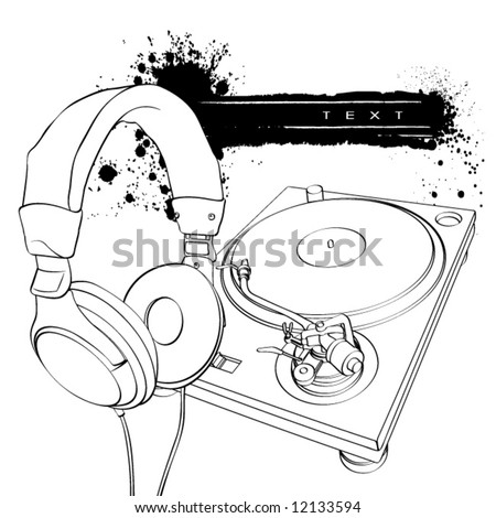 Headphones and turntable on a white background with blots - stock vector