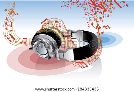 headphones DJ electronic music  sound - stock vector