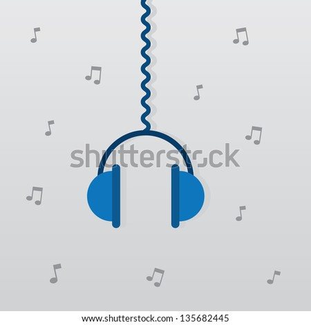 Headphones hanging from wire with notes in the background - stock vector