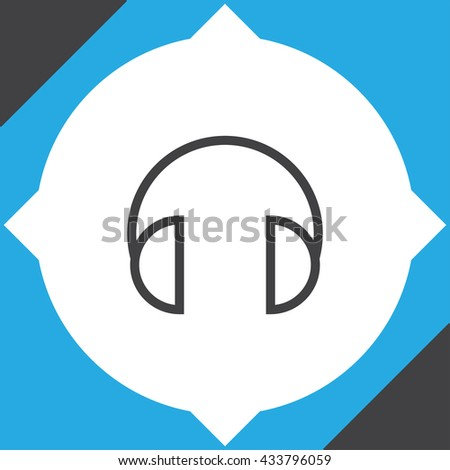 Headphones headset sign line vector icon. Music sign line vector icon. Volume control sign icon. Sound control icon.
