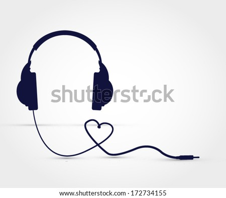 Headphones heart vector illustration - stock vector
