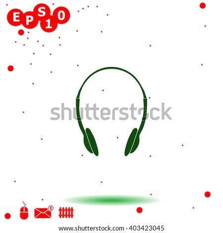 Headphones Icon. Headphones Icon Vector. Headphones Icon Object. Headphones Icon Picture. Headphones Icon Image. Headphones Icon JPG. Headphones Icon JPEG. Headphones Icon EPS. - stock vector