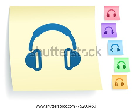 Headphones Icon on Post It Note Paper Collection Original Illustration - stock vector