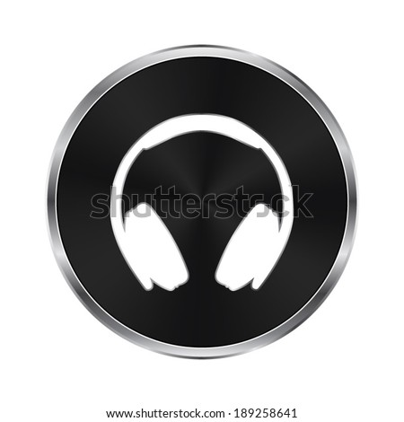 Headphones icon - vector brushed metal button