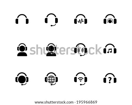 Headphones icons on white background. Vector illustration. - stock vector