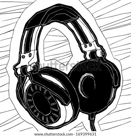 Headphones illustration - stock vector