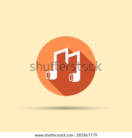 headphones in the form letter m isolated vector round flat icon with long shadow - stock vector