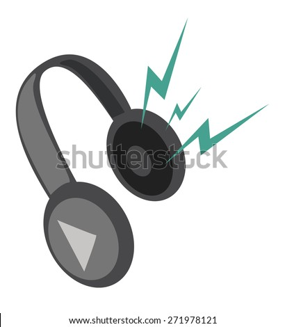 Headphones, isolated on white background. Vector illustration. - stock vector