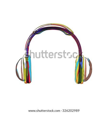 Headphones lines color easy editable - stock vector