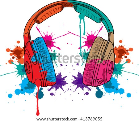 headphones music Concept Illustration with Polygon Art - Conceptual Music Illustration - Polygon Art - Listening Music Concept Illustration.Splashes of colorful ink spots - stock vector