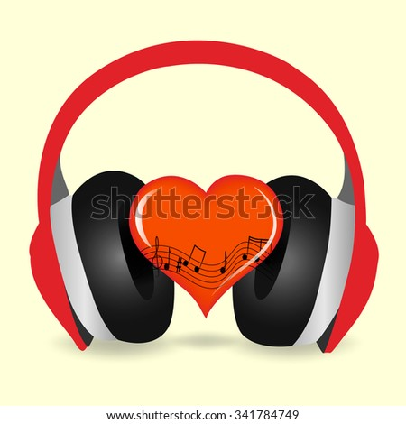 Headphones, music notes with red heart - stock vector