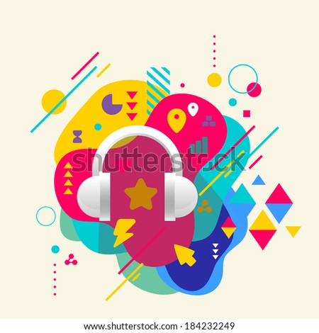 Headphones on abstract colorful spotted background with different elements. Flat design. - stock vector