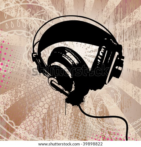 headphones on detailed grunge background - stock vector