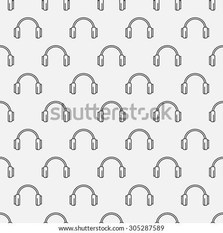 Headphones seamless pattern - simple music background - stock vector
