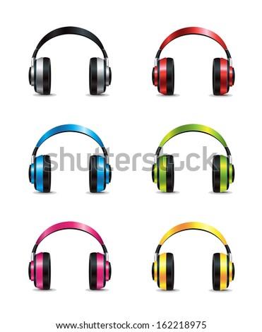 Headphones Set - stock vector