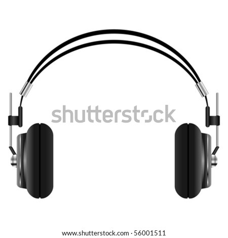 Headphones set isolated over white square background - stock vector