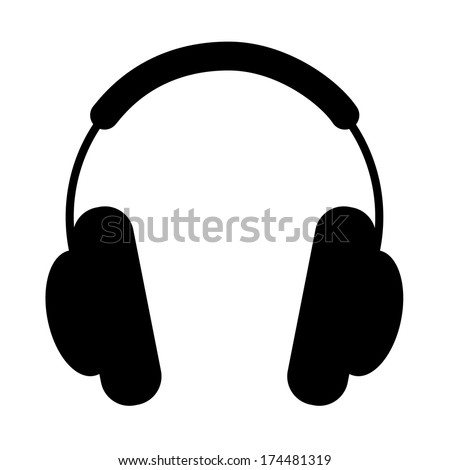 Headphones. Silhouette on a white background, illustration. - stock vector